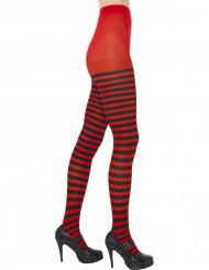 Strømpebukser rød og sort stribede til kvinder