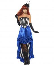 Kostume cabaret skelet til kvinder Halloween
