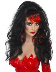 Langhåret paryk pandehår sort og rød