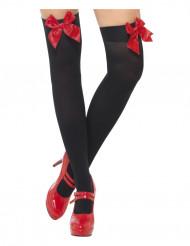 Knæstrømper sorte med rød sløjfe