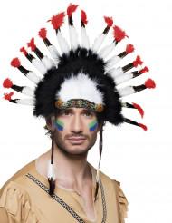 Indianer hovedbeklædning med fjer til voksne