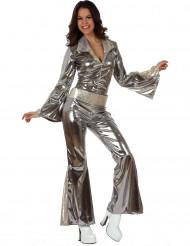 Udklædning sølvfarvet disko kvinde