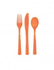 Orangefarvet plastikbestik