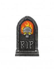Gravsten dekoration kranie med flammer Halloween 56 x 35 cm