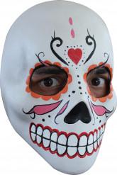 Mexikansk traditionel Maske orange, rød og lyserød