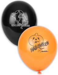 Balloner 12 stk orange og sort Halloween
