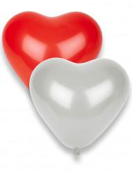 8 røde og hvide hjerteformede balloner