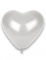 8 hvide hjerteformede balloner