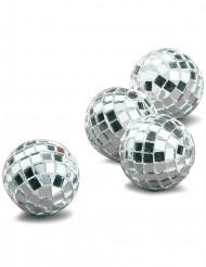 4 mini-kugler med sølvfarvede facetter