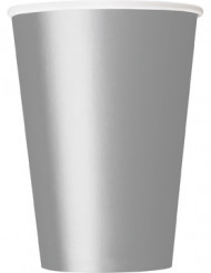 10 sølvfarvede papkrus