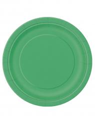 16 store smaragdgrønne tallerkener