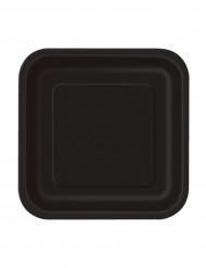 16 små sorte paptallerkener 17 cm