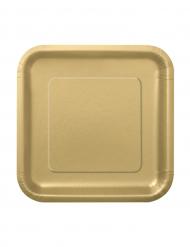 16 små guldfarvede paptallerkener