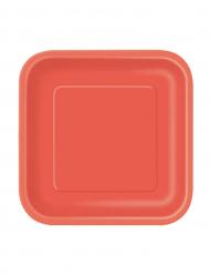 Tallerkener 16 stk. røde firkantet.