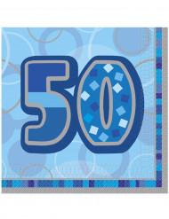 Blå fødselsdagsservietter 50 år