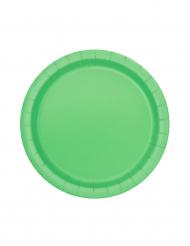 20 Små paptallerkener limegrøn 18 cm