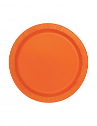 20 små runde orange paptallerkener 18 cm