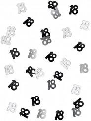 18 års konfetti sort og grå