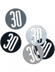 30 års konfetti sort og sølvfarvet