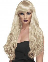Blond lang bølget paryk dame