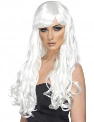 Hvid lang bølget paryk dame
