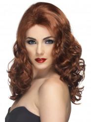 Rødbrun lang bølget paryk dame