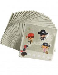 20 servietter papir pirat skattejagt 33 x 33 cm