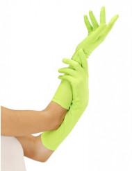 Lange neongrønne handsker voksne
