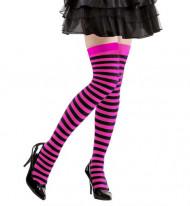 Stribede strømper i sort og lyserød voksne