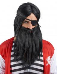 Paryk med sort skæg voksne