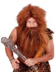 Paryk med brunt skæg voksne