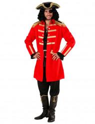 Kostume rød piratkaptajn voksen