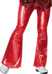 Røde glinsende diskobukser voksen