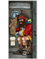 Dørdekorationn pirat på toilet 76,2 x 1,52 m