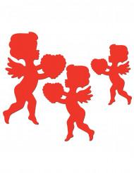 6 røde Amor-dekorationer
