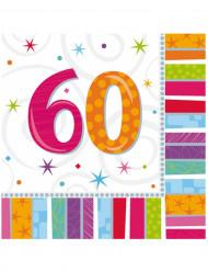 16 Papirservietter 60 års 33 x 33 cm.