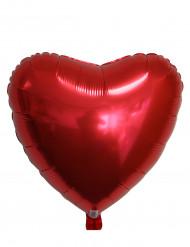 Rød metallicfarvet hjerteformet ballon
