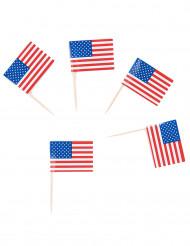 30 Pinde med flag USA 6 cm