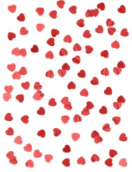 Røde metallicfarvede konfettihjerter