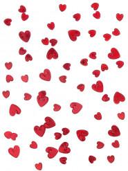 Rødt hjerteformet konfetti