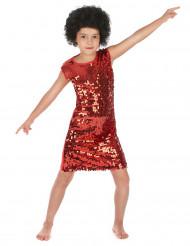 Kostume disco til piger røde pailletter