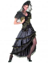 Kostume danserinde flamenco til kvindersort og guld