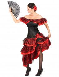Kostume danserinde flamenco til kvinder rød og sort