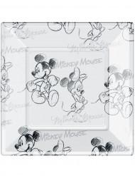 8 Firkantede plastiktallerkener med Mickey Black and White™