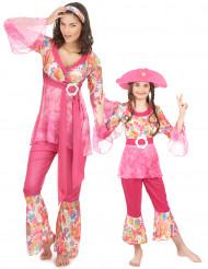 Parkostume lyserød hippie mor og datter