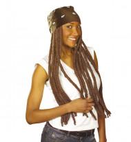 Paryk rasta brun med bandana til voksne