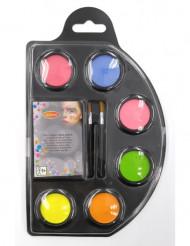 Sæt med 6 sminke-vandfarver i neon