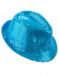 Borsalino-hat med lyseblå pailletter voksen