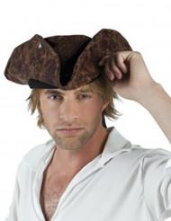 Mørkebrun pirathat med læderlook til mænd
