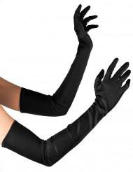 Lange sorte handsker med satinllok